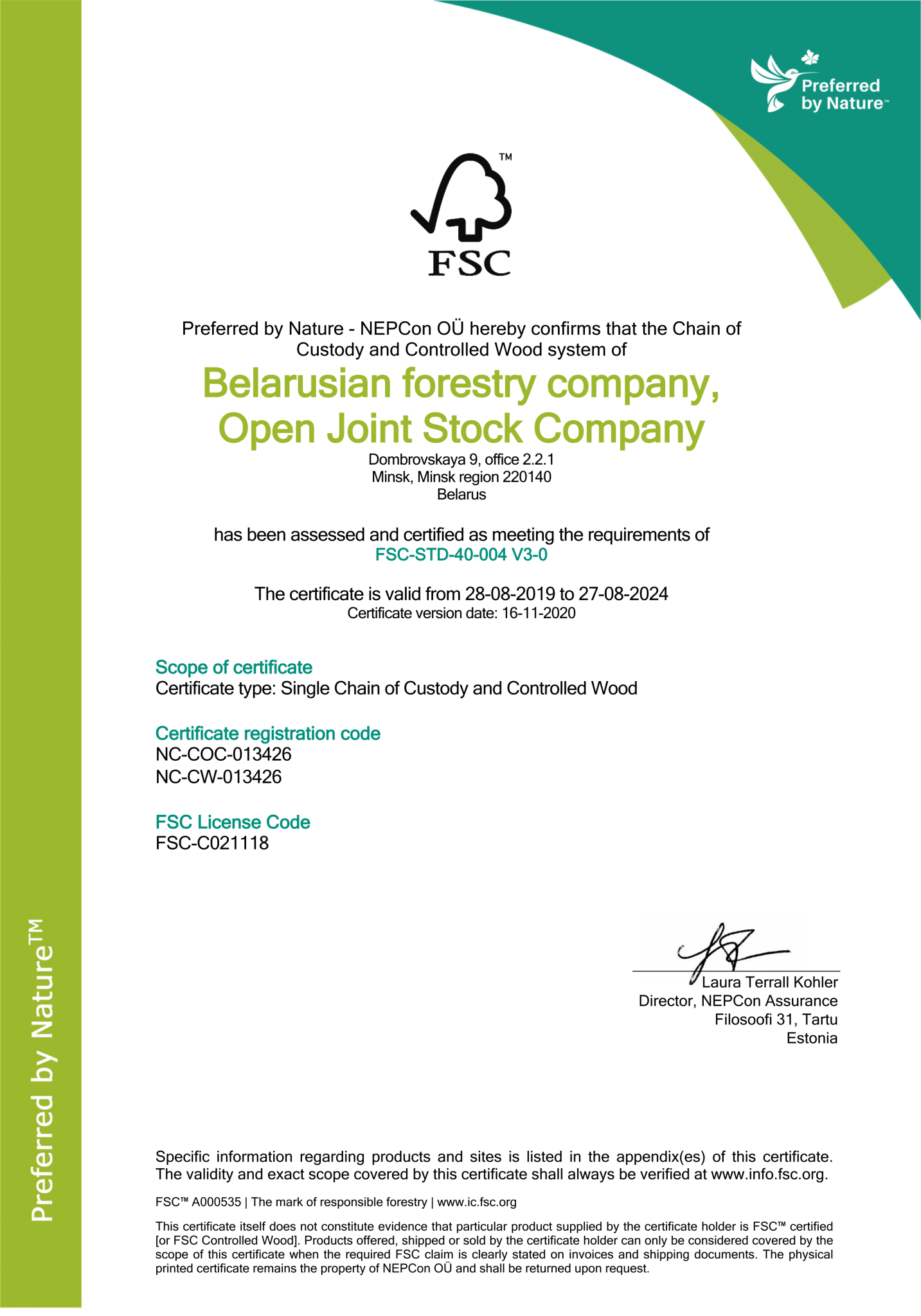 Belarusian forestry company, Open Joint Stock Company FSC COC w_CW Certificate 16.11.2020